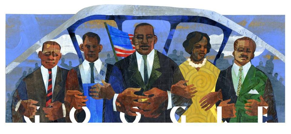 Google is celebrating Martin Luther King Jr. Day with a local artist's illustration.