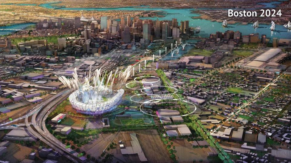 A proposed Olympic Stadium in Boston, Massachusetts is seen in this handout image made available January 21, 2015 by the Boston2024 group, which is organizing Boston's bid to host the 2024 Summer Olympics. REUTERS/Boston2024/Handout via Reuters (UNITED STATES - Tags: SPORT OLYMPICS) ATTENTION EDITORS - THIS IMAGE HAS BEEN SUPPLIED BY A THIRD PARTY. IT IS DISTRIBUTED, EXACTLY AS RECEIVED BY REUTERS, AS A SERVICE TO CLIENTS. FOR EDITORIAL USE ONLY. NOT FOR SALE FOR MARKETING OR ADVERTISING CAMPAIGNS