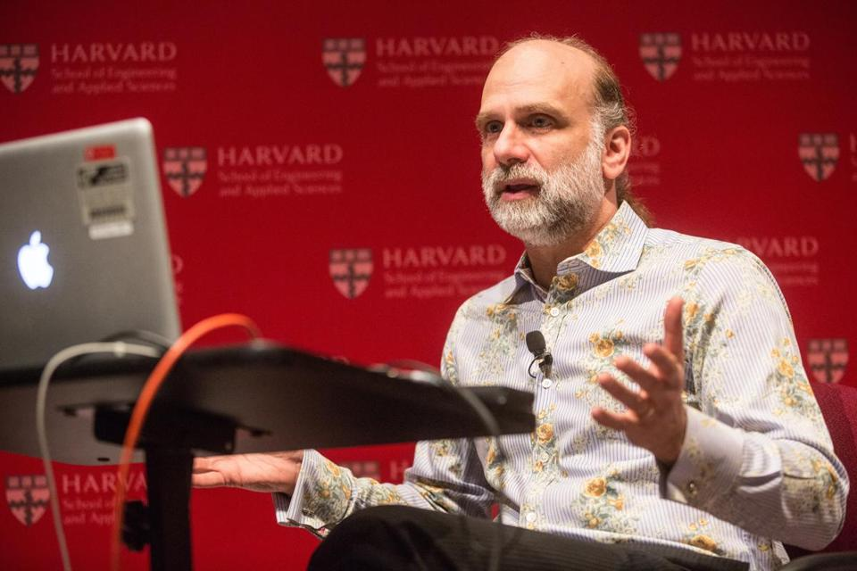Bruce Schneier  video-chatted with Edward Snowden  during a January symposium on privacy at the Harvard Science Center in Cambridge.