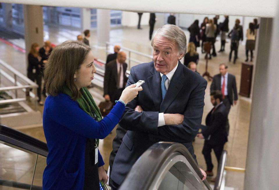 Senator Edward Markey made his way to the Senate chamber to vote on a series of amendments on the bill to authorize the Keystone XL pipeline.