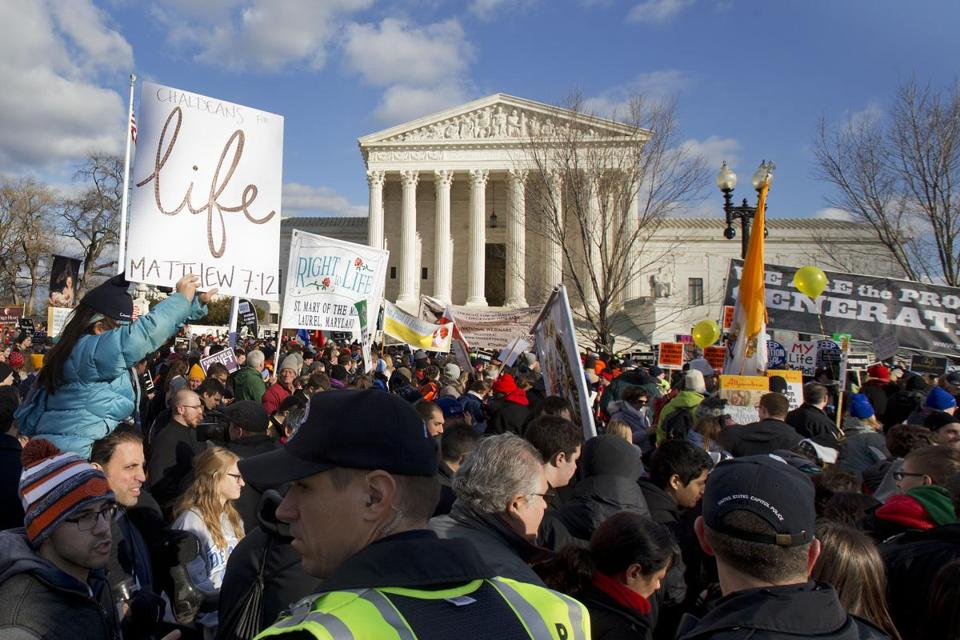 Antiabortion demonstrators marched at the Supreme Court in Washington in the March for Life.