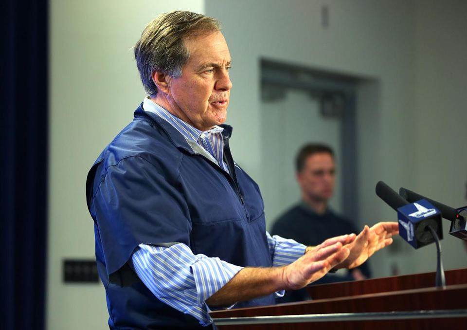 Foxborough-01/24/15-The Patriots head coach Bill Belichick talks to the media to talk about his finding on the deflated football controversy. Boston Globe staff photo by John Tlumacki (sports)