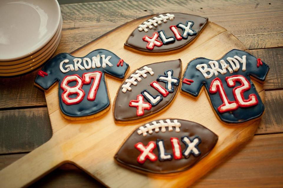 1/26/15 Cambridge, MA -- Patriots-themed sugar cookies available in the market at Commonwealth in Kenmore Square January 26, 2015. Erik Jacobs for the Boston Globe