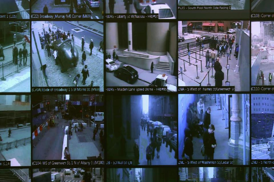 Monitors show imagery from security cameras at the Lower Manhattan Security Initiative in New York in 2013.