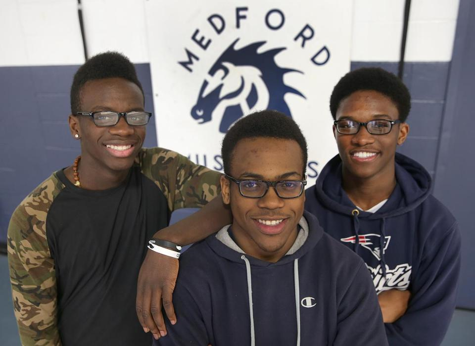 "Martin ""Slim"" Seck (left), Max Tilus (center), and Sebastien Allien appear in a 30-second video titled ""Statistic,'' which was released last week by the Mystic Valley Area Branch of the NAACP."