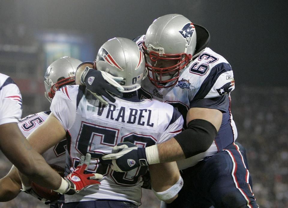 Linebacker Mike Vrabel's 2-yard touchdown reception in the third quarter really got the Patriots' offense jumping against the Eagles.