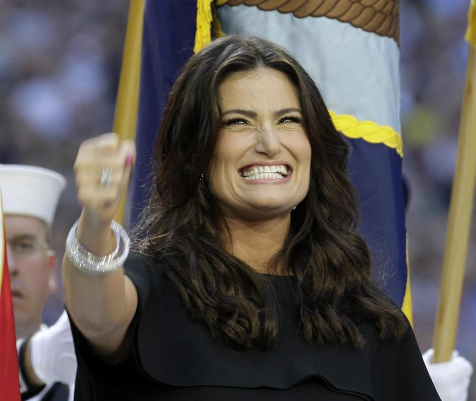 Idina Menzel sang the national anthem before Super Bowl XLIX  in Glendale, Ariz., on Feb. 1.