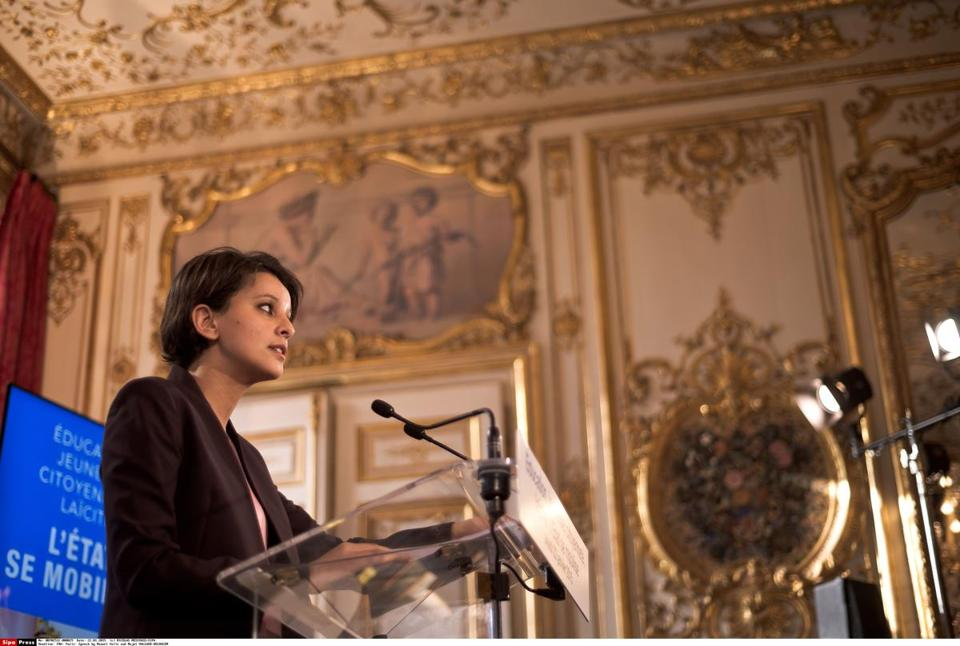 Najat Vallaud-Belkacem, French minister of national education, spoke at a press conference about education, citizenship, and secularism on Jan. 22 in Paris.