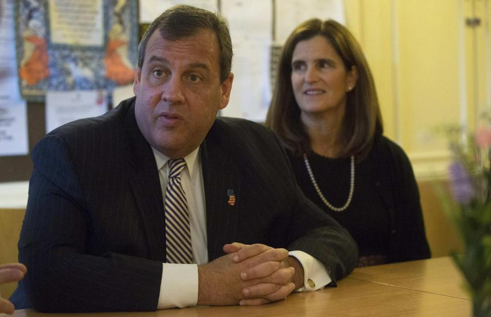 Governor Chris Christie (pictured with wife, Mary Pat) is on a trade mission in London.