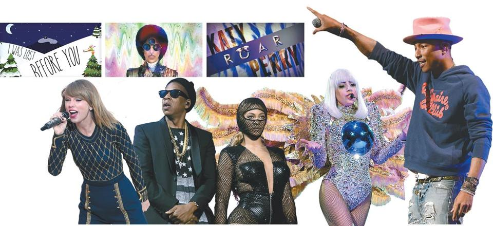 Knowledge of data can drive sales for the clients of Gupta Media, including Kelly Clarkson, Prince, Katy Perry (video art above) and, from left to right: Taylor Swift, Jay-Z, Beyoncé, Lady Gaga, and Pharrell Williams.