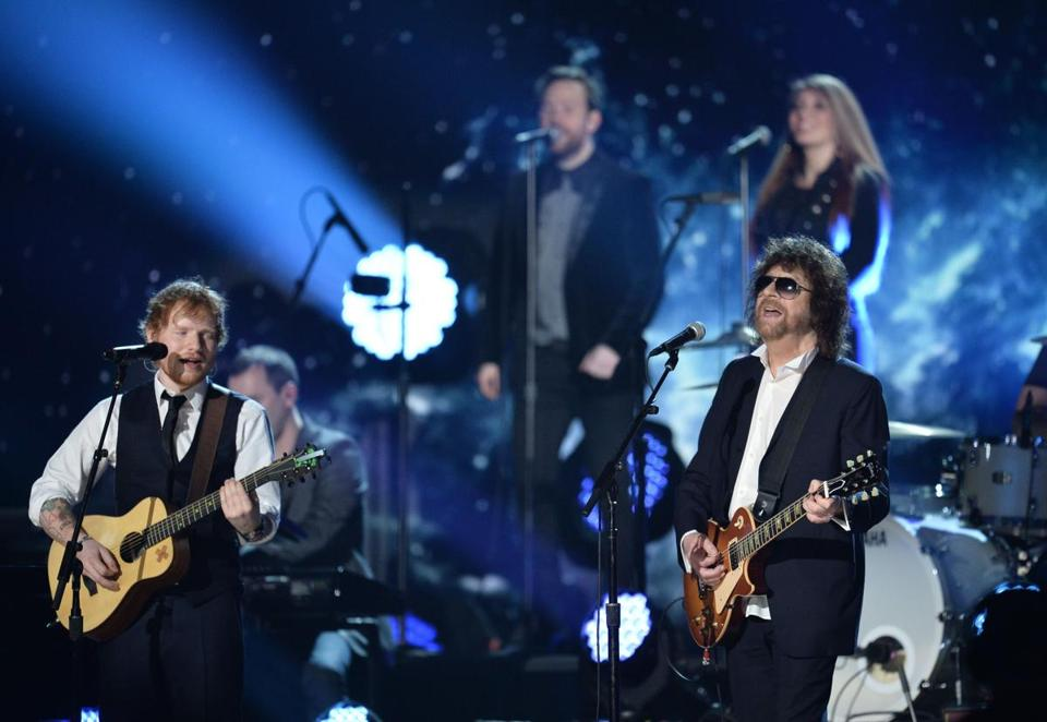 ELO's Jeff Lynne (right) performing with Ed Sheeran at the Grammy Awards in 2015.