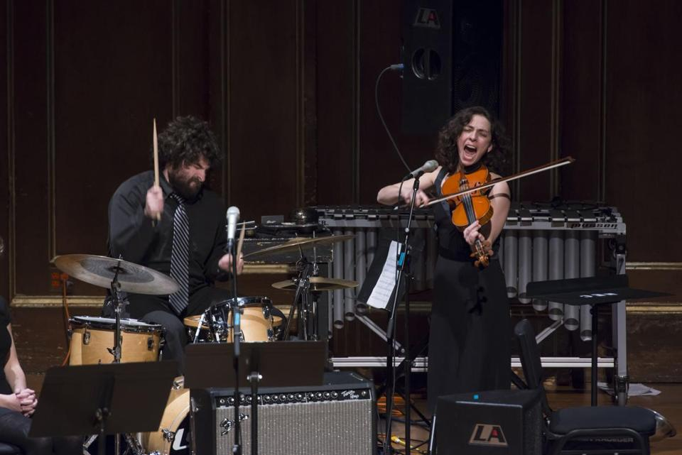 Eden MacAdam-Somer, a violinist, singer, and teacher at NEC, accompanied by drummer Jeff Balter.