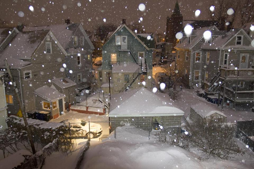 Photographer Mary Kocol's backyard view of the blizzard in Somerville on Jan. 27.