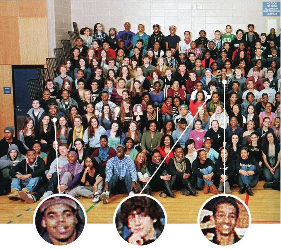 A 2011 Rindge and Latin yearbook photo included, from left, Stephen Silva, Dzhokhar Tsarnaev, and Robel Phillipos.
