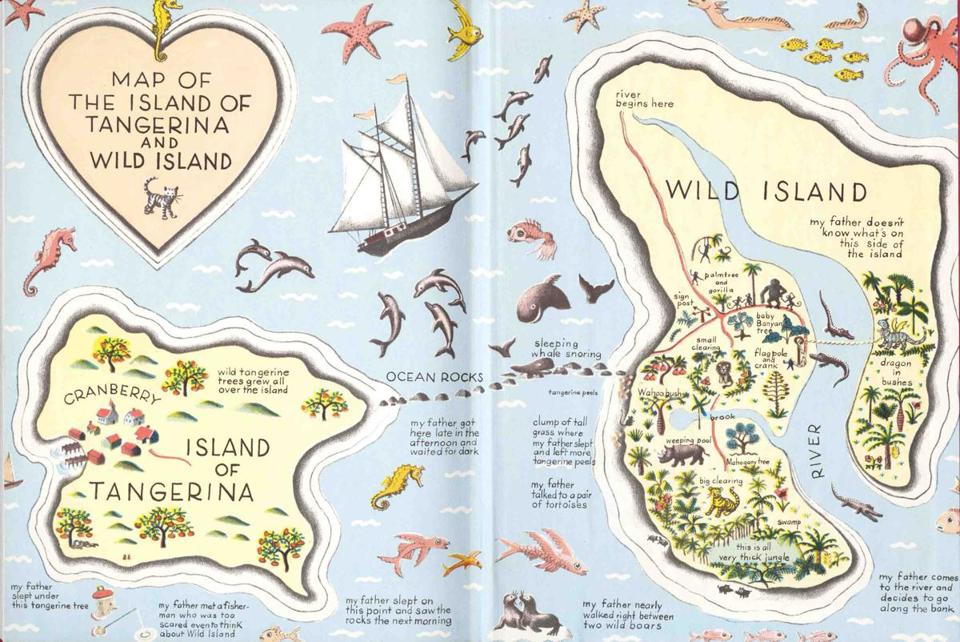 "Ruth Chrisman Gannett's ""Map of the Island of Tangerina and Wild Island."""