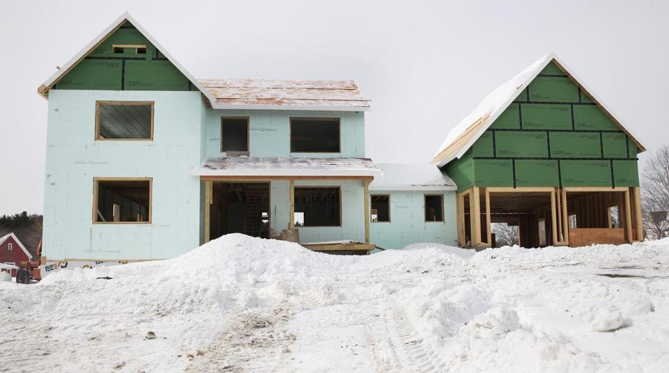 A green home is under construction in Wayland.