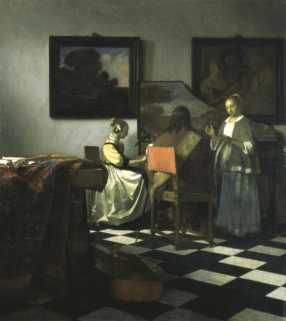 "Vermeer's oil on canvas ""The Concert"" (1658-1660) is shown in a handout photo provided by the Isabella Stewart Gardner Museum in Boston, Massachusetts, March 18, 2013. The painting is included on a list of several works of art stolen from the museum which experts estimate at $300 million in a brazen robbery on March 19, 1990. The FBI plans to reveal new information about one of the city's longest-running crime mysteries. REUTERS/Gardner Museum/Handout (UNITED STATES - Tags: CRIME LAW ENTERTAINMENT SOCIETY) NO SALES. NO ARCHIVES. FOR EDITORIAL USE ONLY. NOT FOR SALE FOR MARKETING OR ADVERTISING CAMPAIGNS. THIS IMAGE HAS BEEN SUPPLIED BY A THIRD PARTY. IT IS DISTRIBUTED, EXACTLY AS RECEIVED BY REUTERS, AS A SERVICE TO CLIENTS"