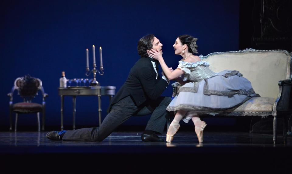 "Yury Yanowsky and Kathleen Breen Combes in Boston Ballet's ""Lady of the Camellias."""