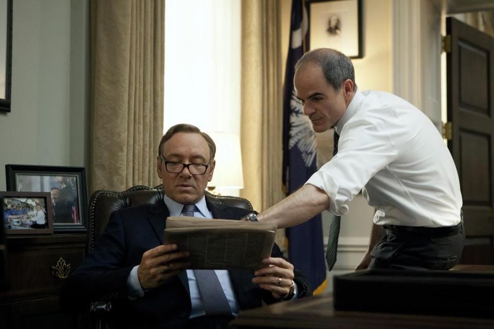 """House of Cards"" is ending amid the troubles of star Kevin Spacey (left), but one possible spinoff would focus on Doug Stamper, the chief of staff played by Michael Kelly (right)."