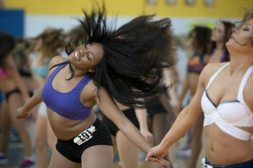 Tanisha Arthur of Stoughton was among the many candidates at the Patriots Cheerleaders' auditions.
