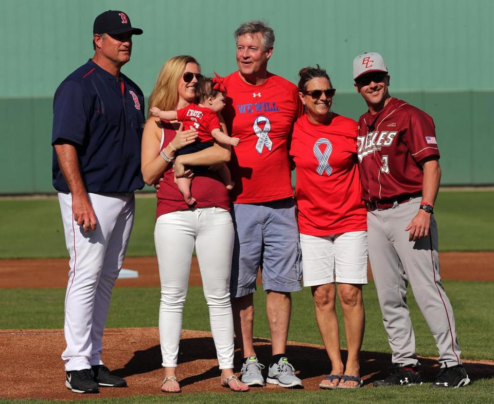 Fort Myers, FL - 03/03/15 - Boston Red Sox manager John Farrell joined Julie Frates, wife of Peter Frates who could not make the trip, dad John Frates, Nancy Frates, mom, and BC coach Mike Gambino, for an on field ceremony honoring Peter Frates, a former BC Baseball player strike by ALS and who started the Ice Bucker Challenge. Red Sox Spring Training Game 1 vs. Northeastern University at Jet Blue Park. (Barry Chin/Globe Staff), Section: Sports, Reporter: Peter Abraham, Topic: 04Red Sox, LOID: 8.0.2826364469.