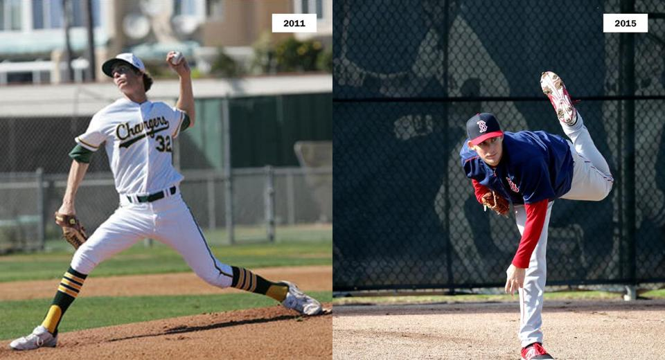 Henry Owens in 2011 (left) and this year's spring training (right).