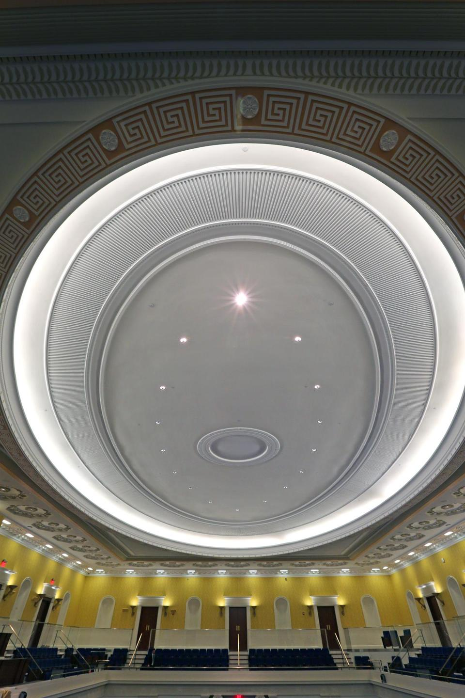 BOSTON, MA - 3/06/2015: Ceiling inside the Senate Chamber at The Ted Kennedy Institute (David L Ryan/Globe Staff Photo) SECTION: MAGAZINE TOPIC 0329SenatePhoto(2)