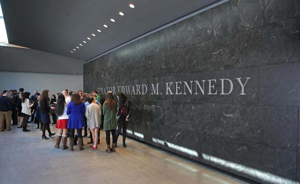 BOSTON, MA - 3/06/2015: Front lobby at The Ted Kennedy Institute (David L Ryan/Globe Staff Photo) SECTION: MAGAZINE TOPIC 0329SenatePhoto(2)