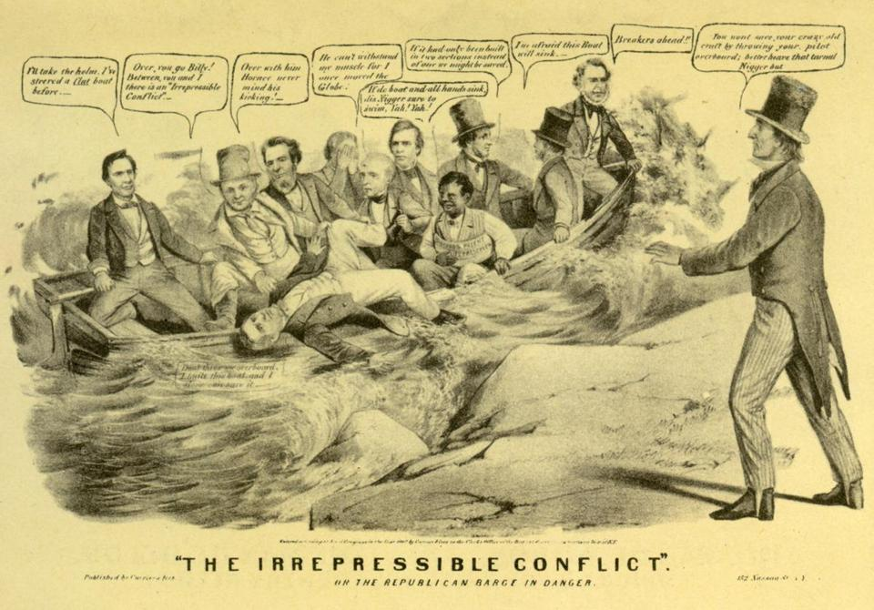 "A copy of a Currier & Ives lithograph titled ""The Irrepressible Conflict"" showing the Republican Party, during the election of 1860, struggling over the topic of slavery."
