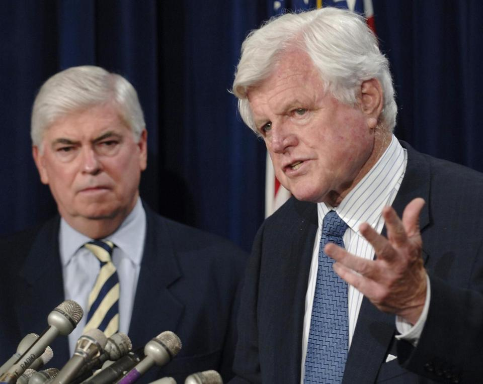 U.S. Senator Ted Kennedy (D-MA) and Senator Christopher Dodd (D-CT) (L) hold a joint news conference at the U.S. Capitol Building in Washington, D.C., July 1, 2005. Dodd and Kennedy both urged U.S. President George W. Bush to replace retiring Supreme Court Justice Sandra Day O'Conner with someone in her conservative mainstream mold to unite the nation and avoid a potentially bruising confirmation battle. REUTERS/Mannie Garcia Library Tag 07142005 Metro ted kennedy / edward kennedy / senator kennedy / sen kennedy / edwardmkennedy