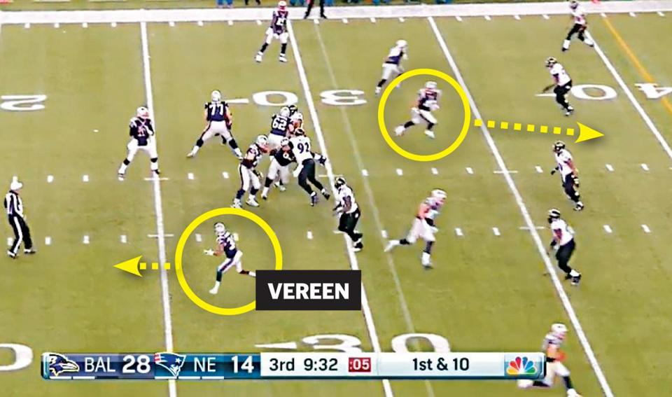On the disputed play vs. the Ravens, Shane Vereen was ineligible and did not run downfield when the ball was snapped.