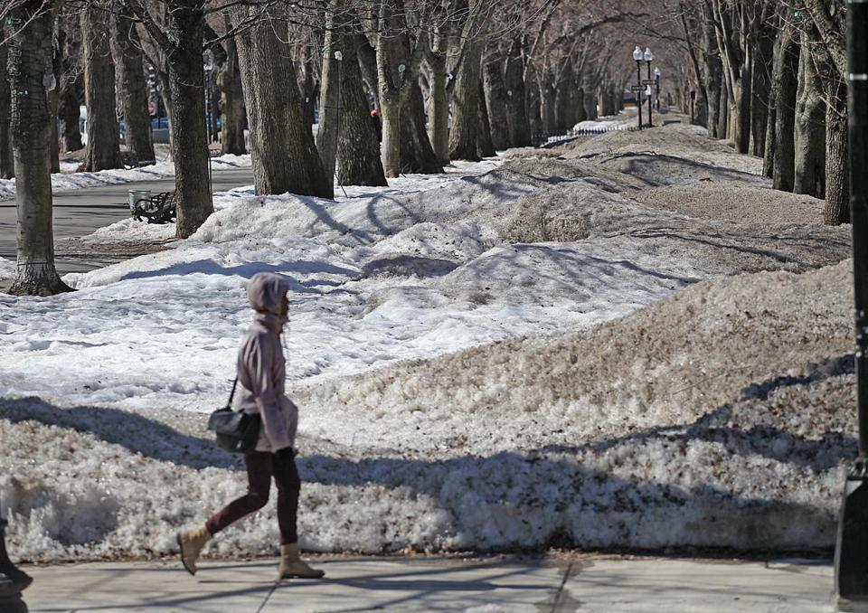 Reminders of a record winter are all around in Boston, including along Commonwealth Avenue.