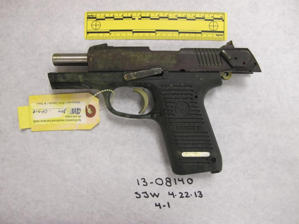 A Ruger semi-automatic handgun presented in the trial.