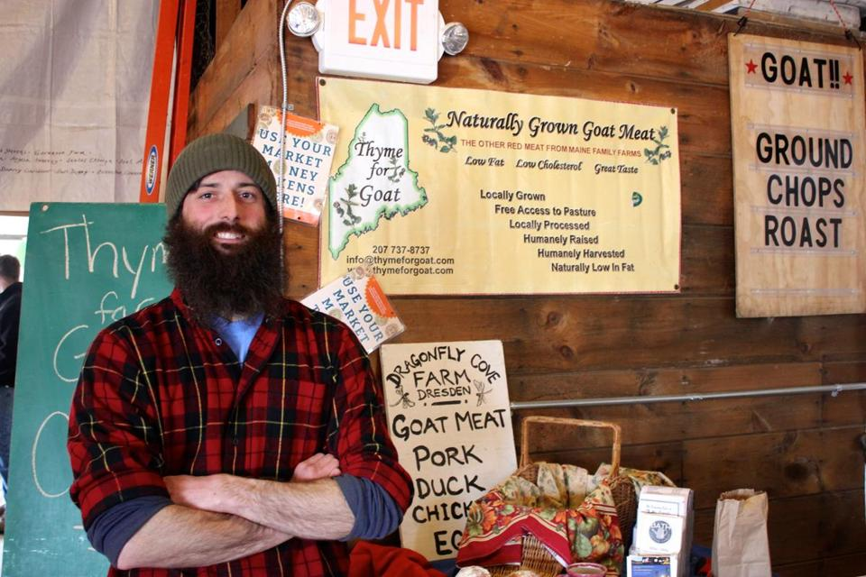 Farmer Jon Merry from Dragonfly Cove Farm at the Bath, Maine farmer's market. Photo credit: Christopher Muther/Globe Staff -- 05Muther