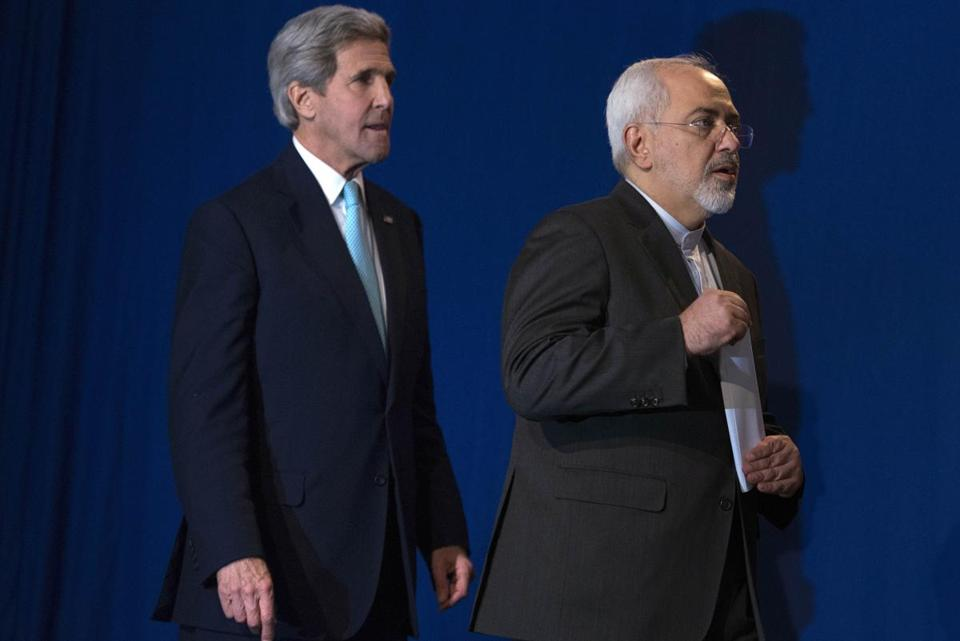 Secretary of State John Kerry (left) and Iran's Foreign Minister Mohammad Javad Zarif.