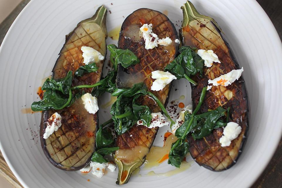 Concord, MA., 04/02/15, The soon-to-open Saltbox Restaurant. This is the roasted eggplant with braised spinach, goat cheese, honey, sumac. For story on the rise of suburban restaurants. Suzanne Kreiter/Globe staff