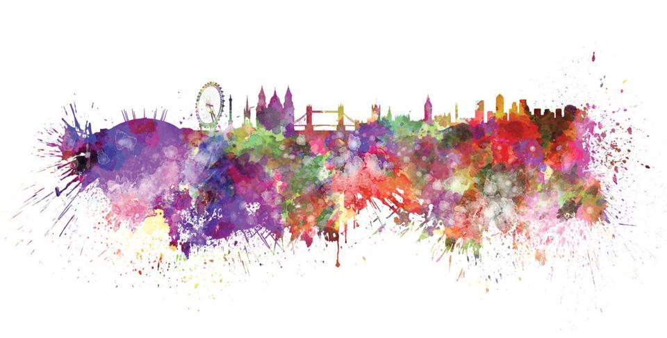 London skyline in watercolor splatters with clipping path; Shutterstock ID 189126479; PO: olympics citys