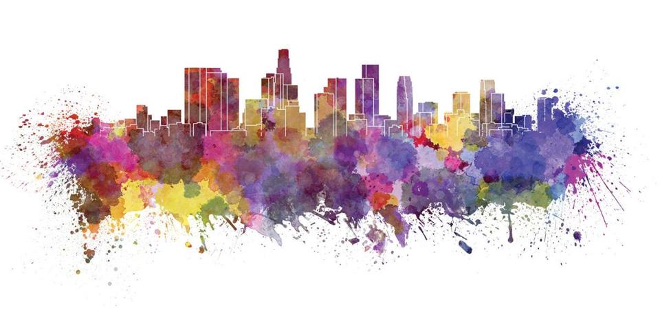 Los Angeles skyline in watercolor splatters with clipping path; Shutterstock ID 190997267; PO: olympics citys