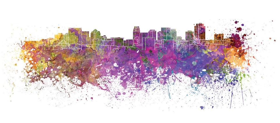 Salt Lake City skyline in watercolor splatters with clipping path; Shutterstock ID 222118654; PO: olympics citys