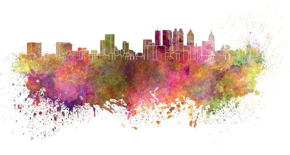 Atlanta skyline in watercolor splatters with clipping path; Shutterstock ID 204063553; PO: olympics citys