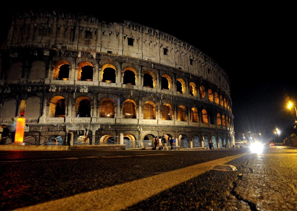 "A general view shows the Coliseum at night during ""The Colosseum under the moon"" tour on November 2, 2013 in Rome. (Tiziana Fabi/AFP/Getty Images)"