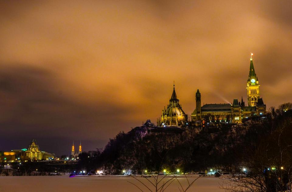 Parliament Hill on a winter's night.