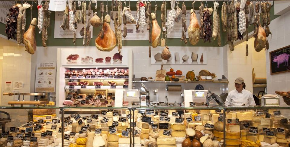 The salumi and formaggi counter in the New York Eataly.