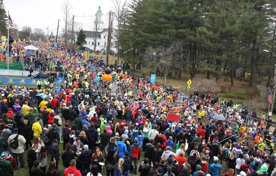Hopkinton, MA-April 20, 2015-Boston Marathon. Men's elite start. Globe Staff photo/Jim Wilson