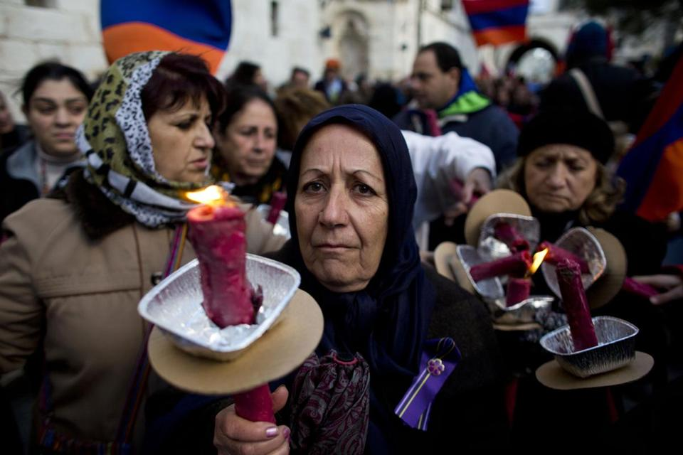 A march in Jerusalem Thursday commemorated the 100th anniversary of the Armenian genocide.