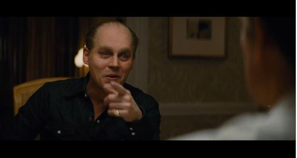 "Johnny Depp as Whitey Bulger in a trailer for ""Black Mass."""