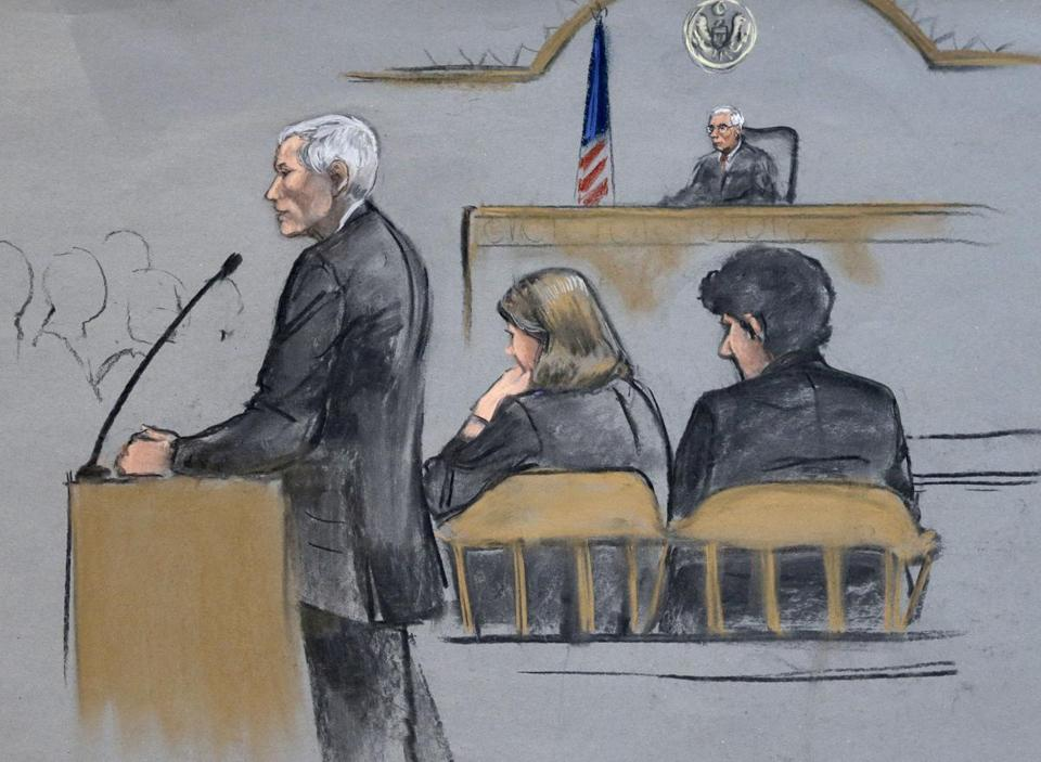 In a courtroom sketch, defense attorney David Bruck is depicted addressing the jury during the penalty phase in the trial of Dzhokhar Tsarnaev.