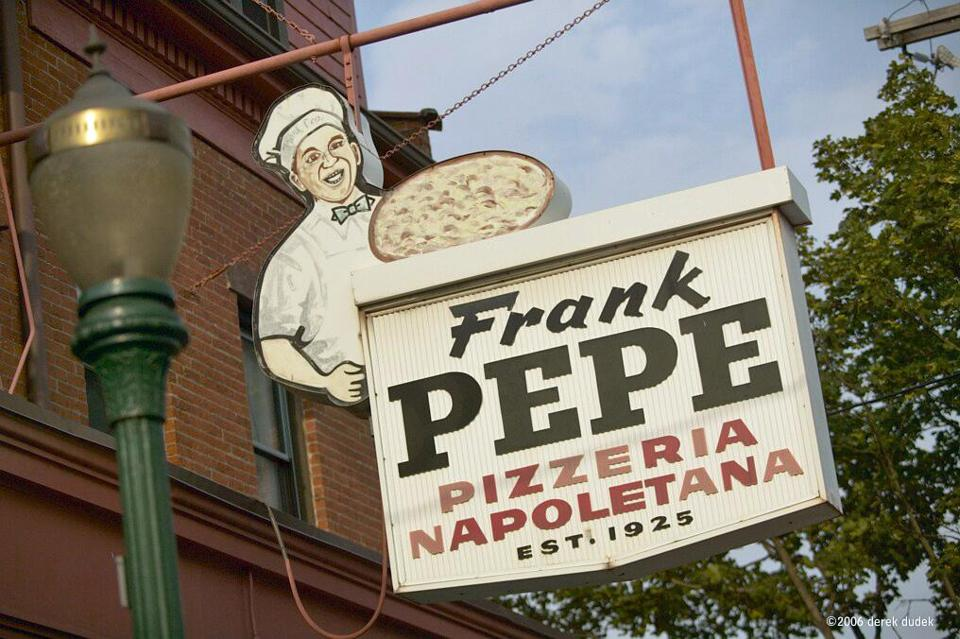 10newhaven - ***warning: image lo res, do not use for more than 2.5 columns *** - For some, there's only one pizza that defines New Haven: the original Frank Pepe's pie. (handout)