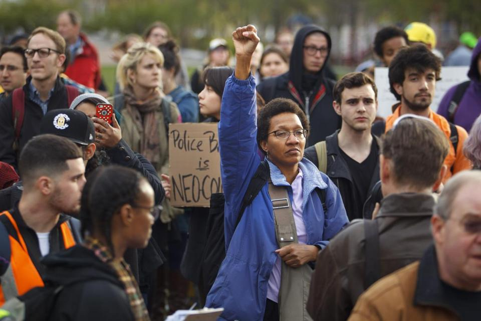 Demonstrators expressed solidarity with those in Baltimore protesting the death of Freddie Gray.