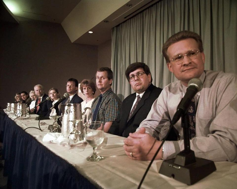 Jury members in the Oklahoma City bombing trial addressed the media in Denver in 1997. Jurors in the trial were not offered help with dealing with the trial's emotional aftermath.